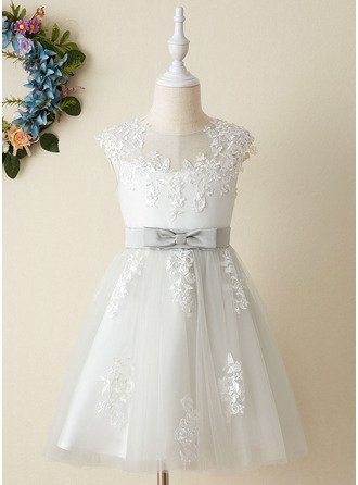 Knee-length Flower Girl Dress - Satin Tulle Sleeveless Scoop Neck With Lace