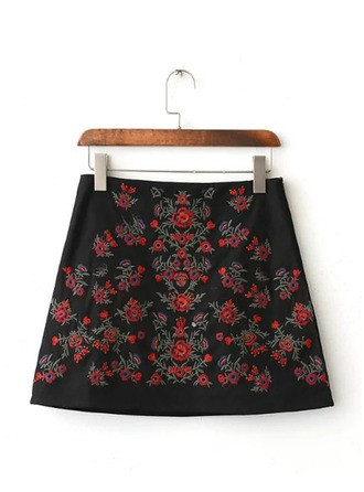 A-Line Skirts Mini Embroidery Cotton Skirts