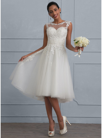 A-Line/Princess Scoop Neck Asymmetrical Tulle Wedding Dress With Ruffle