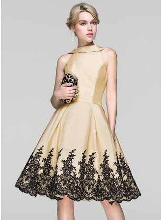A-Line/Princess Scoop Neck Knee-Length Taffeta Lace Cocktail Dress With Sequins