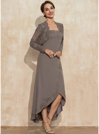 A-Line Square Neckline Asymmetrical Chiffon Mother of the Bride Dress With Appliques Lace Sequins