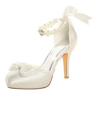 Women's Silk Like Satin Stiletto Heel Platform Pumps With Crystal Pearl