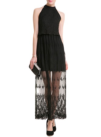 Lace/Tulle With Stitching Midi Dress
