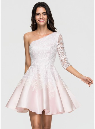 A-Line One-Shoulder Short/Mini Satin Homecoming Dress With Lace
