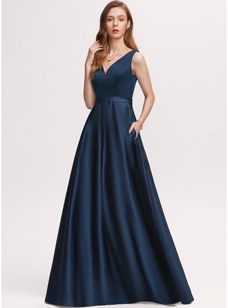 A-Line V-neck Floor-Length Satin Evening Dress