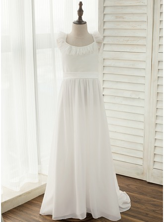 Court Train Flower Girl Dress - Chiffon Sleeveless Straps With Bow(s)