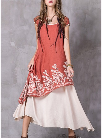 Cotton Blends With Stitching/Embroidery Maxi Dress