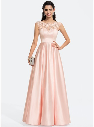 Scoop Neck Floor-Length Satin Prom Dresses With Sequins