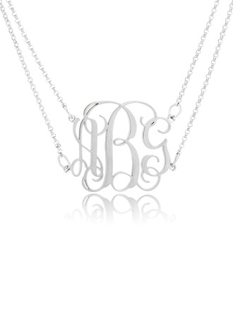 Custom Sterling Silver 3D Monogram Necklace