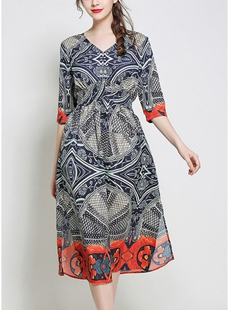 Silk With Print/Crumple Midi Dress