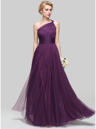 One-Shoulder Floor-Length Tulle Bridesmaid Dress With Ruffle