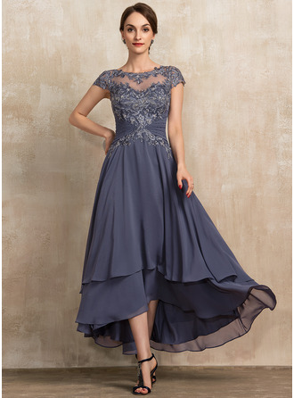 Asymmetrical Chiffon Lace Mother of the Bride Dress