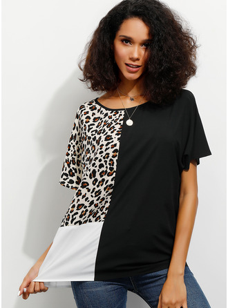 Short Sleeves Polyester Round Neck Plést ()
