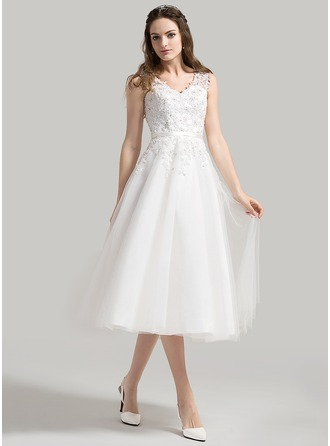A-Line/Princess V-neck Tea-Length Tulle Wedding Dress With Beading Appliques Lace Sequins