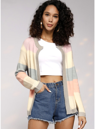 Color Block Chunky knit Polyester Cardigans Sweaters