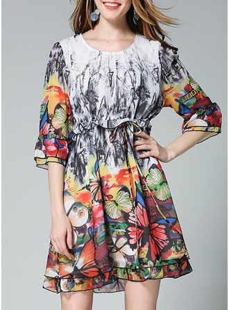 Chiffon With Stitching/Print Above Knee Dress