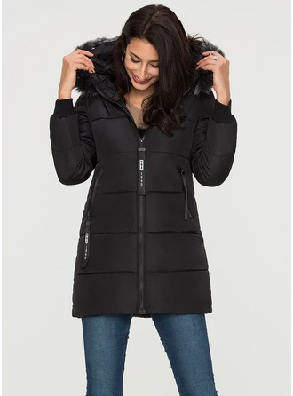 Polyester Long Sleeves Plain Down Coats ()