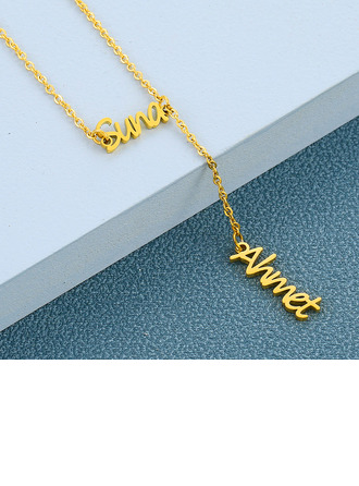 Custom 18k Gold Plated Cross Two Name Necklace -