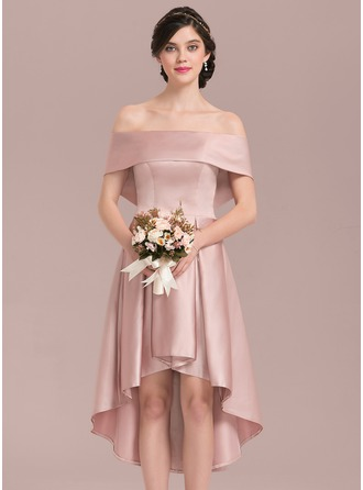 Off-the-Shoulder Asymmetrical Satin Bridesmaid Dress