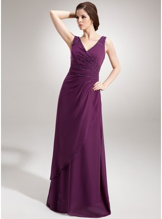 A-Line/Princess V-neck Floor-Length Chiffon Evening Dress With Ruffle Beading Sequins