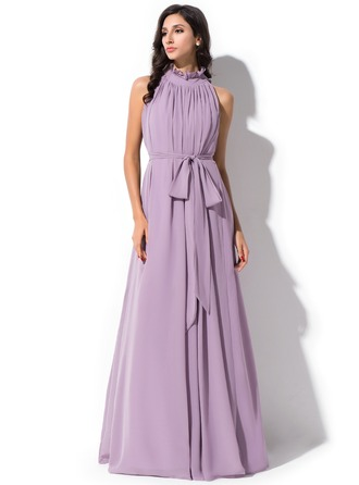 High Neck Floor-Length Chiffon Prom Dresses With Bow(s) Cascading Ruffles