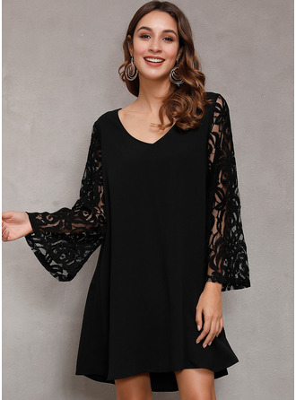 Lace Solid Shift V-Neck Long Sleeves Flare Sleeve Midi Casual Elegant Little Black Tunic Dresses