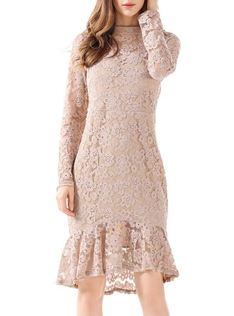 Polyester/Lace With Lace Asymmetrical Dress