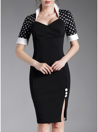 Cotton Blends With Stitching/PolkaDot Knee Length Dress