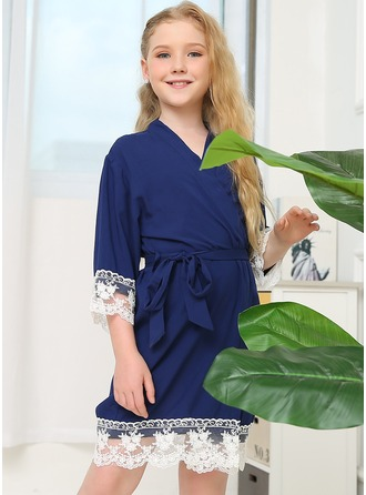 Spets Flower Girl Blank Robes Lace Robes