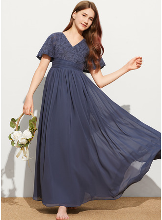A-Line V-neck Floor-Length Chiffon Lace Junior Bridesmaid Dress With Bow(s)
