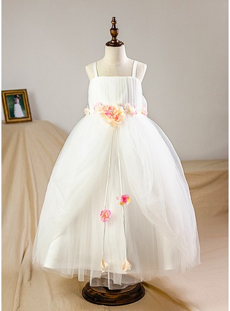 A-Line/Princess Floor-length Flower Girl Dress - Organza/Tulle Straps With Flower(s) (Petticoat included)