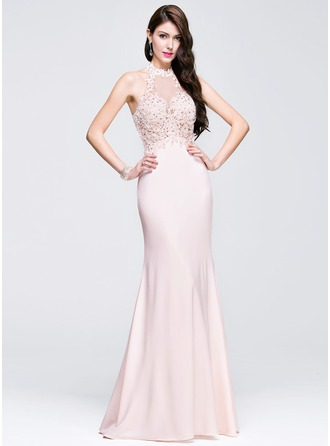 Sheath/Column Scoop Neck Floor-Length Jersey Prom Dresses With Beading Appliques Lace Sequins