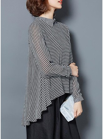 Striped Long Sleeves Polyester Lapel Shirt Blouses Blouses
