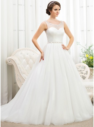 BallGown Scoop Neck Court Train Tulle Wedding Dress With Beading