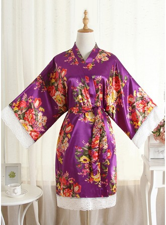 Non-personalized Charmeuse Bride Bridesmaid Mom Lace Robes Floral Robes