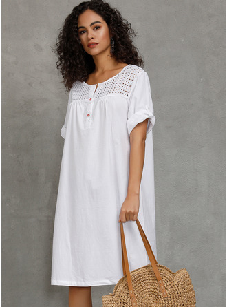 Polyester/Cotton With Button/Hollow/Solid Knee Length Dress
