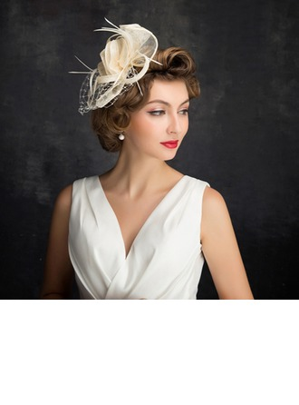 Dames Style Classique Feather/Fil net/Tulle/Lin avec Feather Chapeaux de type fascinator/Kentucky Derby Des Chapeaux/Chapeaux Tea Party