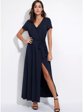 Cotton With Solid/Slit Maxi Dress