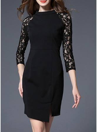 Lace With Lace/Hollow/Crumple Knee Length Dress