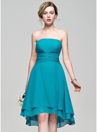 A-Line/Princess Strapless Asymmetrical Chiffon Bridesmaid Dress With Ruffle