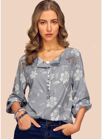 Long Sleeves Chiffon V Neck Blouses