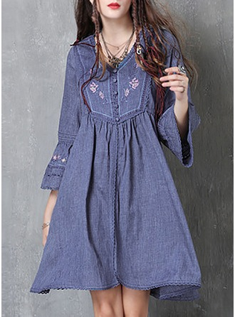 Cotton With Bowknot/Embroidery/Crumple/Ruffles Knee Length Dress