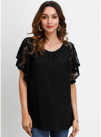 Short Sleeves Polyester Round Neck ()