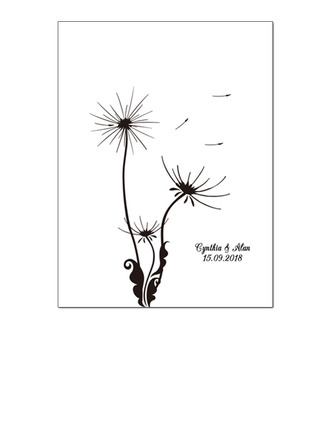 Flowers Design Canvas Fingerprint Guestbook With Ink Pad