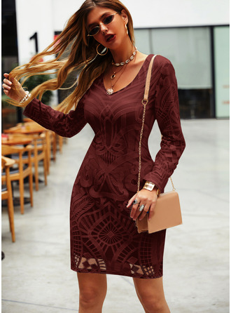 Print Bodycon V-Neck Long Sleeves Midi Elegant Little Black Dresses