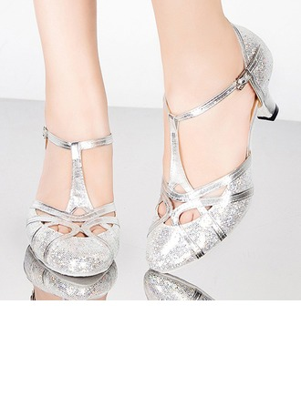 Women's Sparkling Glitter Sandals Pumps Ballroom With T-Strap Buckle Hollow-out Dance Shoes
