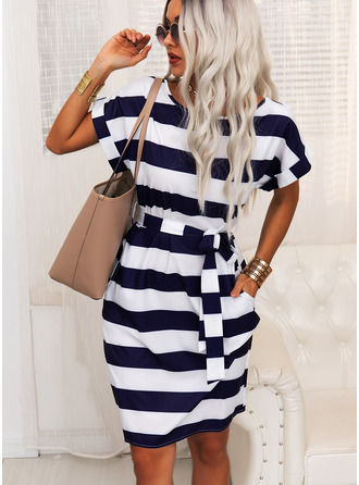 Striped Bodycon Round Neck Short Sleeves Midi Casual Pencil Dresses