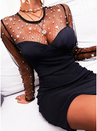 Solid Beaded Bodycon Round Neck Long Sleeves Midi Little Black Party Sexy Dresses