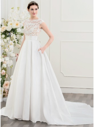 A-Line/Princess Scoop Neck Chapel Train Wedding Dress