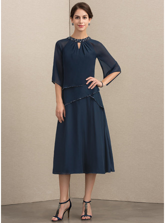 A-Line Scoop Neck Tea-Length Chiffon Mother of the Bride Dress With Beading Sequins